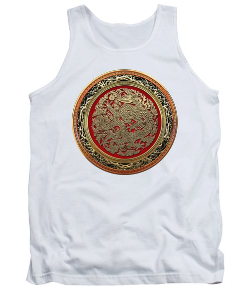 Golden Chinese Dragon White Leather  Tank Top by Serge Averbukh