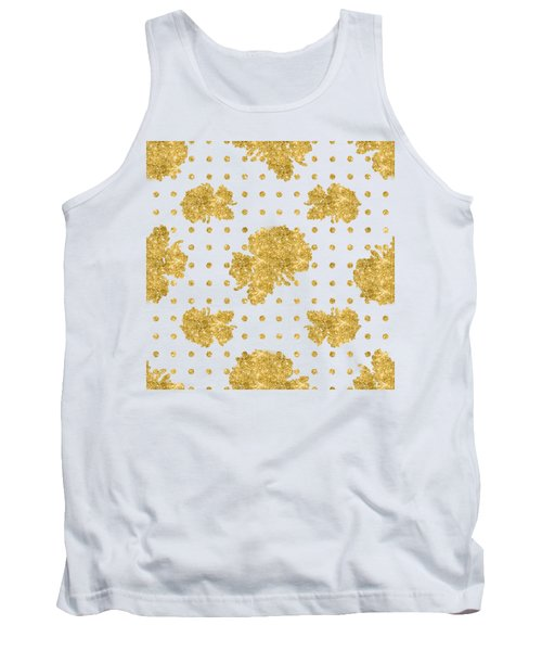 Tank Top featuring the painting Golden Gold Blush Pink Floral Rose Cluster W Dot Bedding Home Decor by Audrey Jeanne Roberts