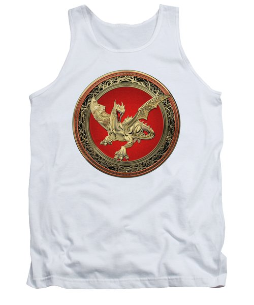 Golden Guardian Dragon Over White Leather Tank Top by Serge Averbukh