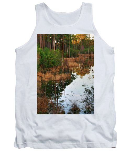 Tank Top featuring the photograph Golden Pond by Lori Mellen-Pagliaro