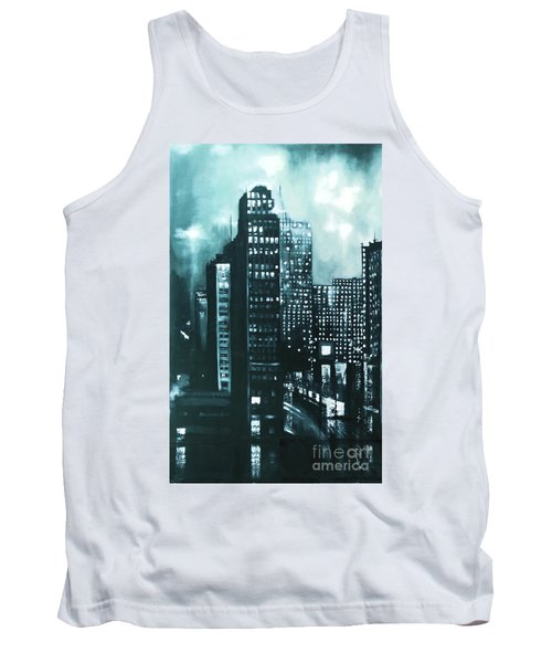 Tank Top featuring the painting Gotham Painting by Maja Sokolowska
