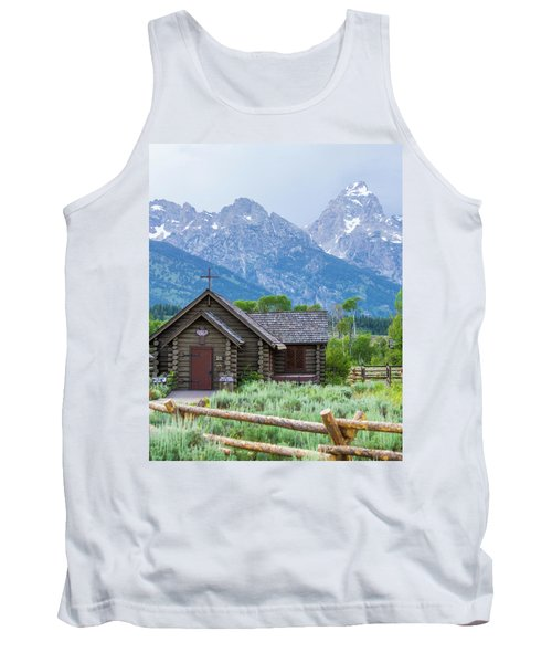 Tank Top featuring the photograph Grand Teton Church by Dawn Romine