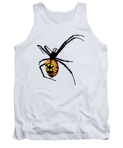Graphic Spider Black And Yellow Orange Tank Top