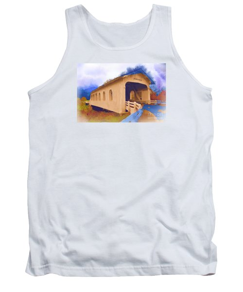 Grave Creek Covered Bridge In Watercolor Tank Top by Kirt Tisdale