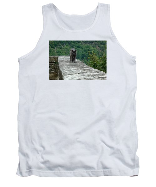 Gray Cat Prowling Tank Top