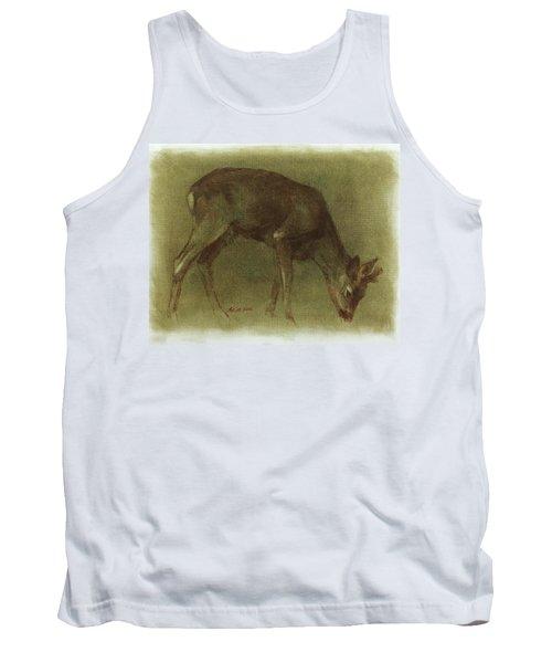 Grazing Roe Deer Oil Painting Tank Top