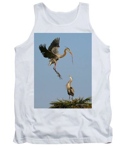 Great Blue Heron Dropping In Tank Top by Myrna Bradshaw