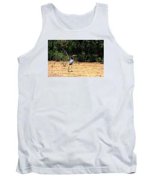 Tank Top featuring the photograph Great Blue Heron On Beach by Sheila Brown