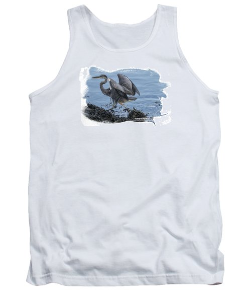 Tank Top featuring the photograph Great Blue Heron On Cape Cod Canal 1 by Constantine Gregory