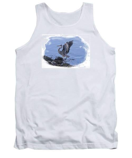 Tank Top featuring the photograph Great Blue Heron On Cape Cod Canal 3 by Constantine Gregory