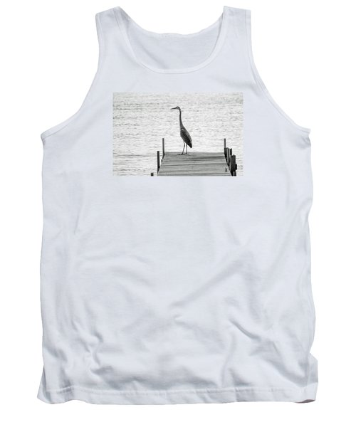 Great Blue Heron On Dock - Keuka Lake - Bw Tank Top