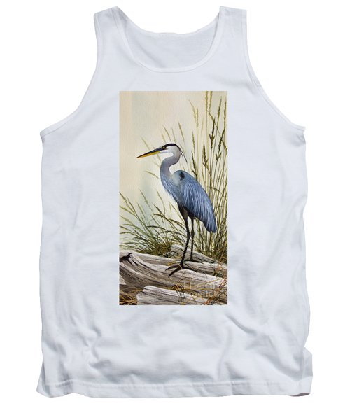 Great Blue Heron Shore Tank Top by James Williamson