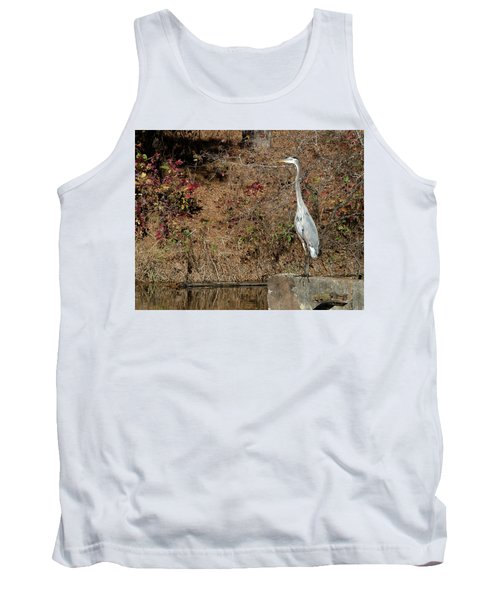 Great Blue Heron Standing Tall Tank Top by George Randy Bass
