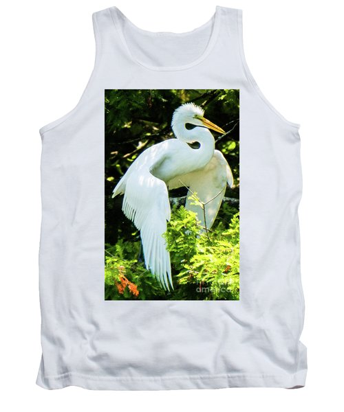 Great Egret Stretching Tank Top