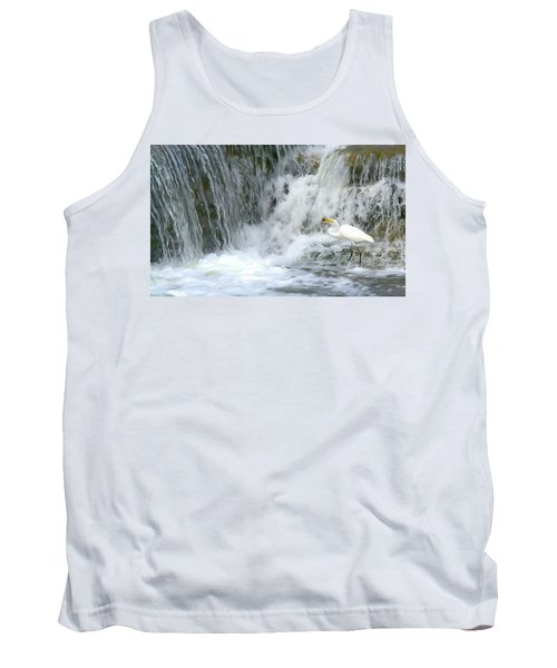 Great Egret Hunting At Waterfall - Digitalart Painting 3 Tank Top