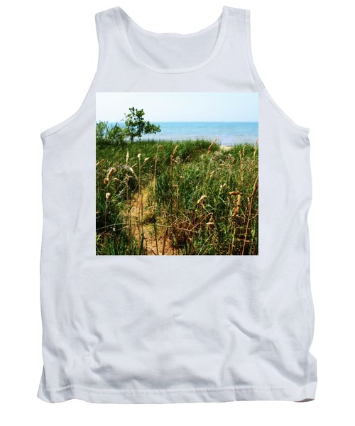 Tank Top featuring the photograph Great Lake Beach Path by Michelle Calkins