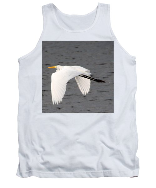 Great White Egret In Flight Tank Top by Laurel Talabere