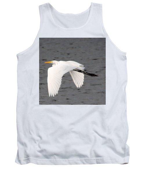 Great White Egret In Flight Tank Top