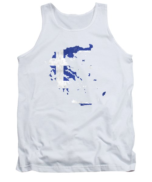 Greece Map Art With Flag Design Tank Top