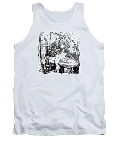 Tank Top featuring the drawing Green Dragon Inn Nook by Kathy Kelly