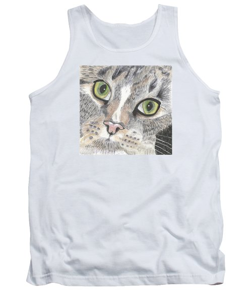 Tank Top featuring the drawing Green Eyes by Arlene Crafton