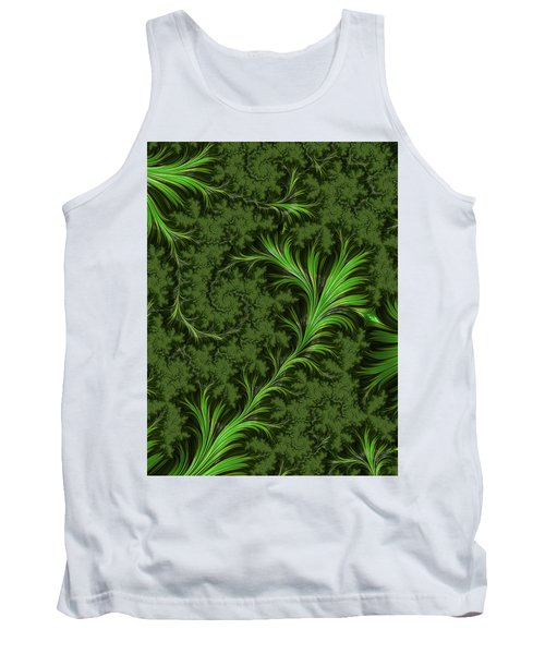 Green Fronds Tank Top by Rajiv Chopra