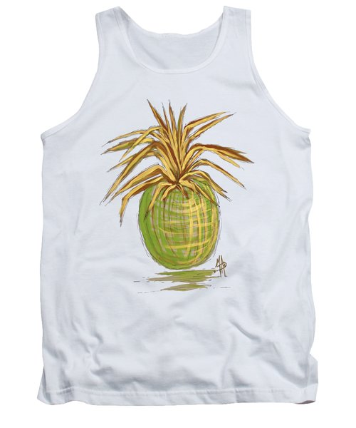 Green Gold Pineapple Painting Illustration Aroon Melane 2015 Collection By Madart Tank Top by Megan Duncanson