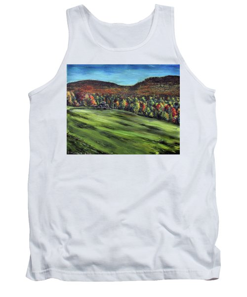 Tank Top featuring the painting Green Mountain Retreat by Denny Morreale