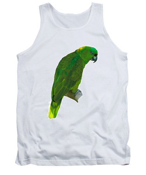 Green Parrot On White  Tank Top