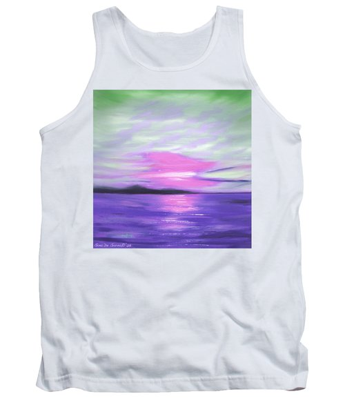 Green Skies And Purple Seas Sunset Tank Top