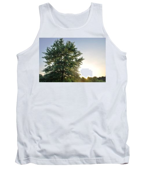 Green Tree Bright Sunshine Background Tank Top