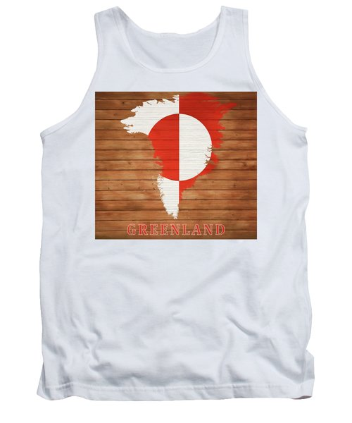 Greenland Rustic Map On Wood Tank Top