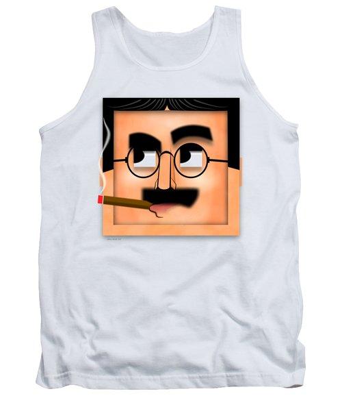 Tank Top featuring the digital art Groucho Marx Blockhead by John Wills