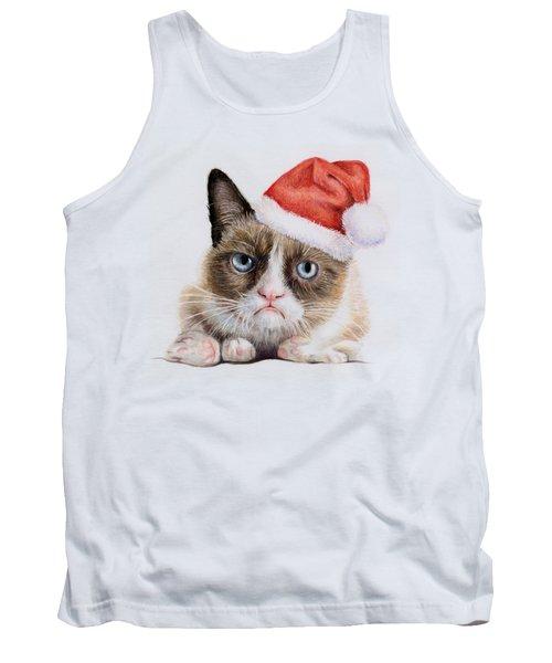 Grumpy Cat As Santa Tank Top