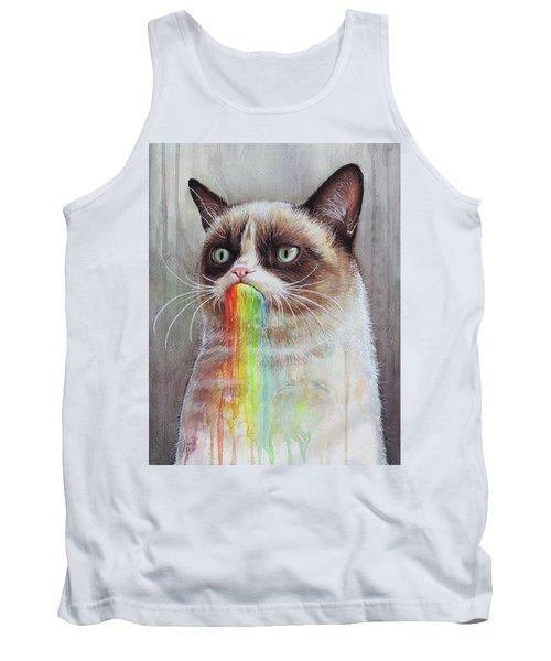 Grumpy Cat Tastes The Rainbow Tank Top