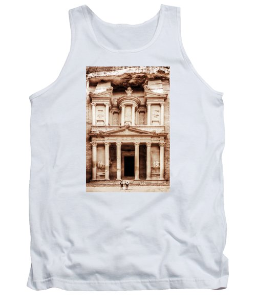 Tank Top featuring the photograph Guarding The Petra Treasury by Nicola Nobile