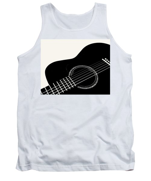 Guitar, Black And White,  Tank Top by Jana Russon