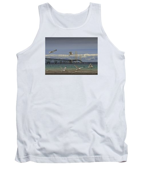 Gulls Flying By The Bridge At The Straits Of Mackinac Tank Top by Randall Nyhof