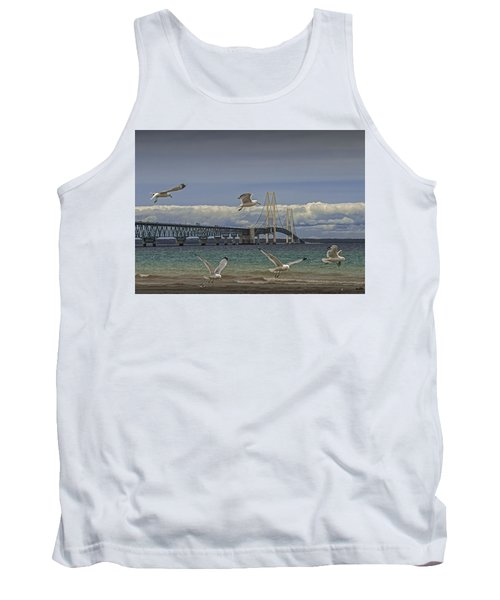 Gulls Flying By The Bridge At The Straits Of Mackinac Tank Top