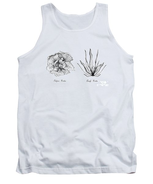 Hand Drawn Of Curly Endive And Belgian Endive Tank Top
