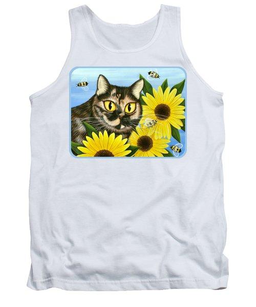 Hannah Tortoiseshell Cat Sunflowers Tank Top