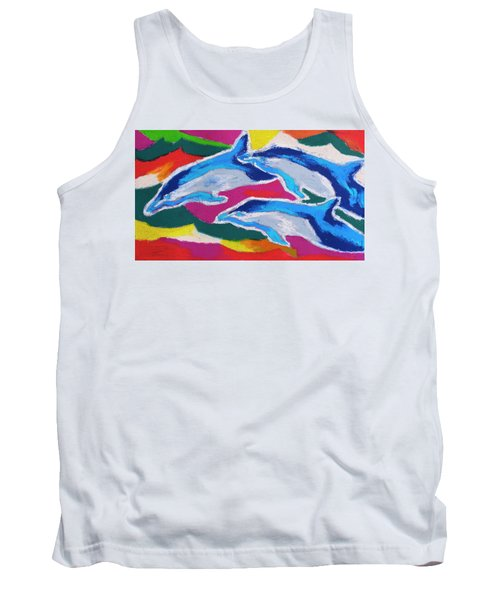 Happy Dolphin Dance Tank Top by Stephen Anderson