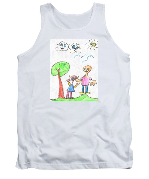 Tank Top featuring the drawing Happy Faces by Maciek Froncisz