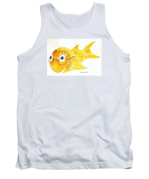 Happy Fish With Glasses Tank Top by Fred Jinkins