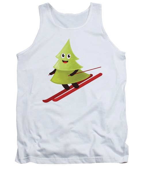 Happy Pine Tree On Ski Tank Top