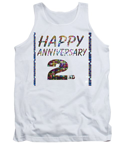 Happy Second 2nd Anniversary Celebrations Design On Greeting Cards T-shirts Pillows Curtains Phone   Tank Top