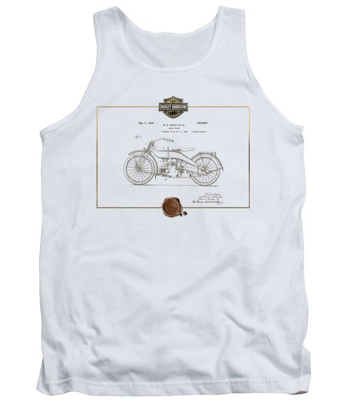 Tank Top featuring the digital art Harley-davidson 1924 Vintage Patent Document  by Serge Averbukh