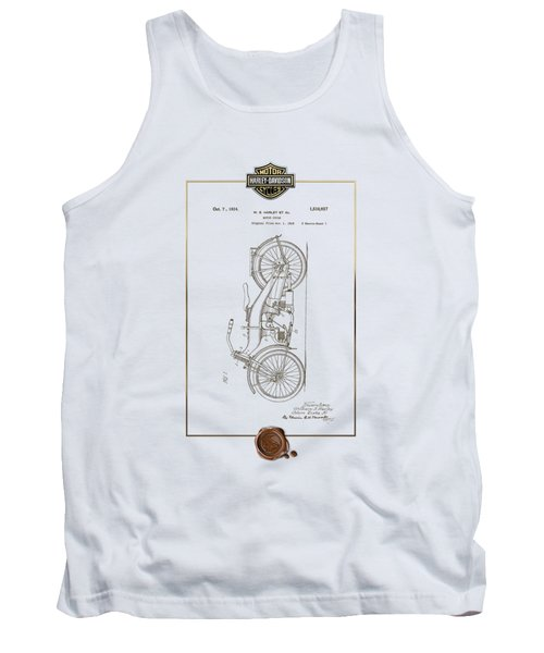 Tank Top featuring the digital art Harley-davidson 1924 Vintage Patent Document With 3d Badge by Serge Averbukh