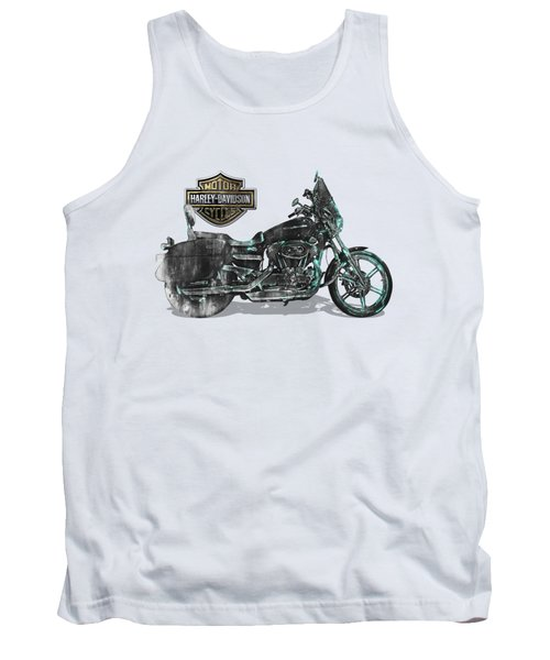 Tank Top featuring the digital art Harley-davidson Motorcycle With 3d Badge Over Vintage Patent by Serge Averbukh