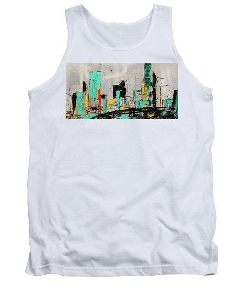 Tank Top featuring the painting Hashtag City by Carmen Guedez